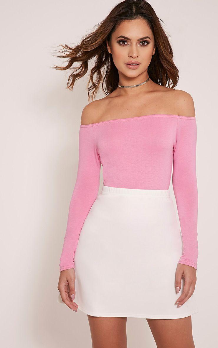 Basic Bubblegum Pink Bardot Bodysuit 1