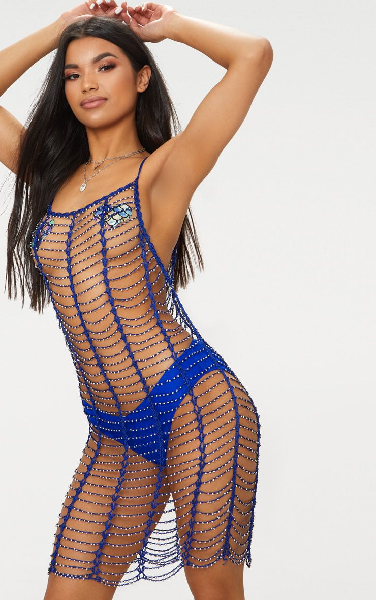 Cobalt Crochet Beaded Dress