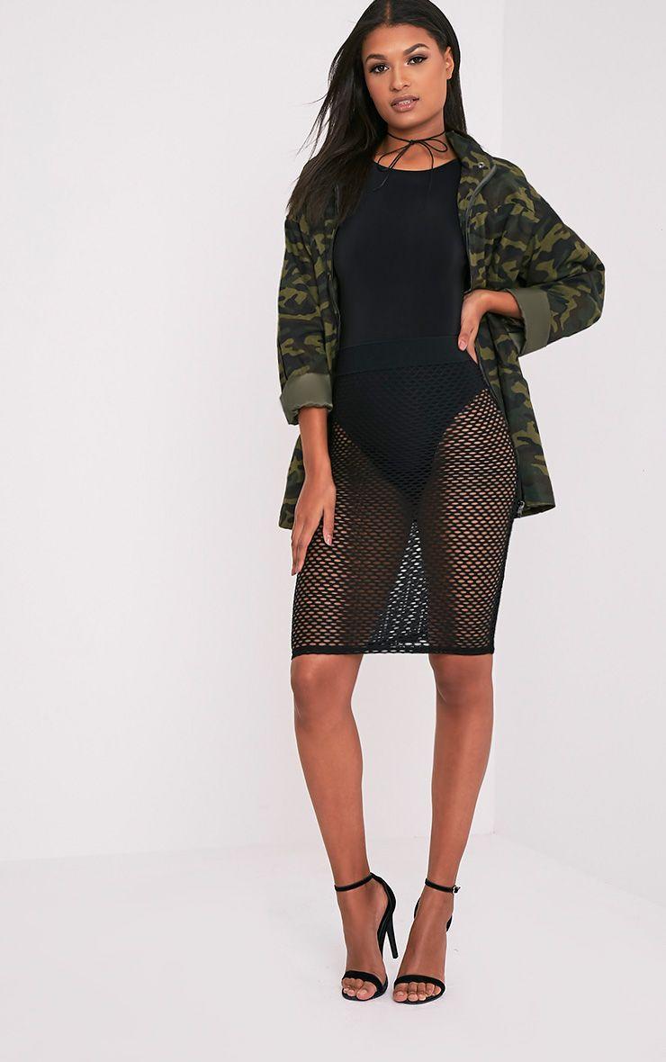 Emmia Black Fishnet Midi Skirt