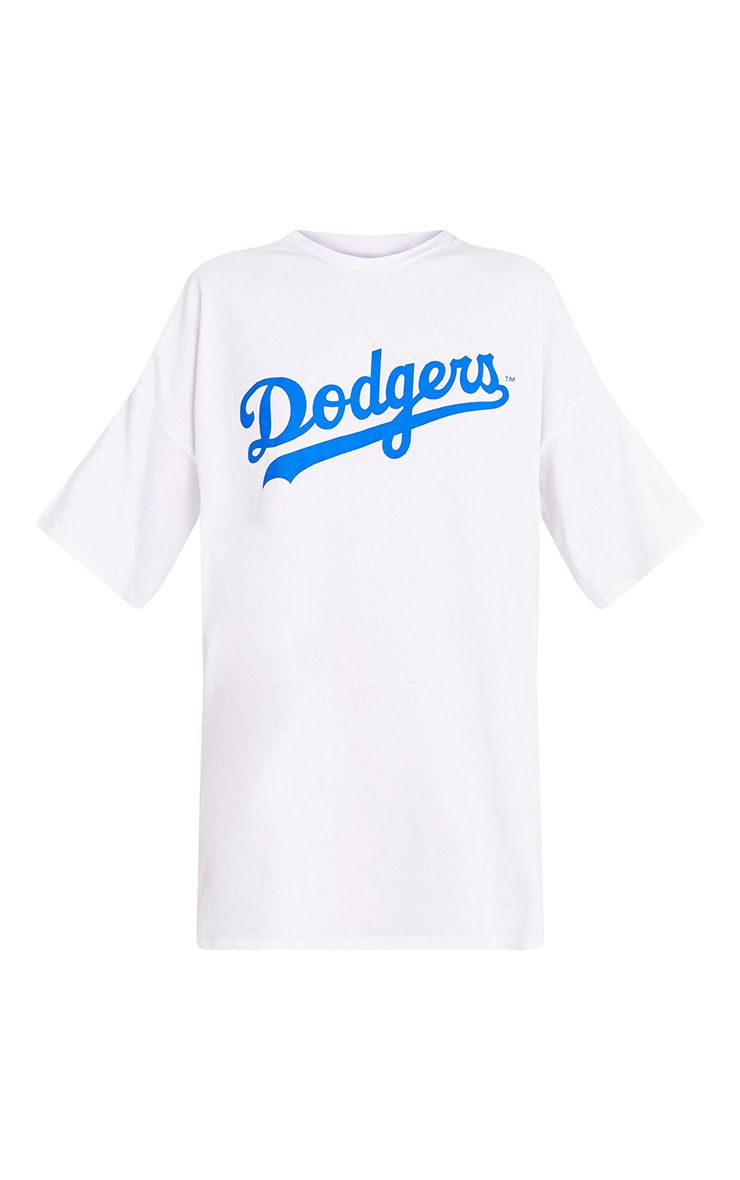 dodgers white slogan t shirt dress