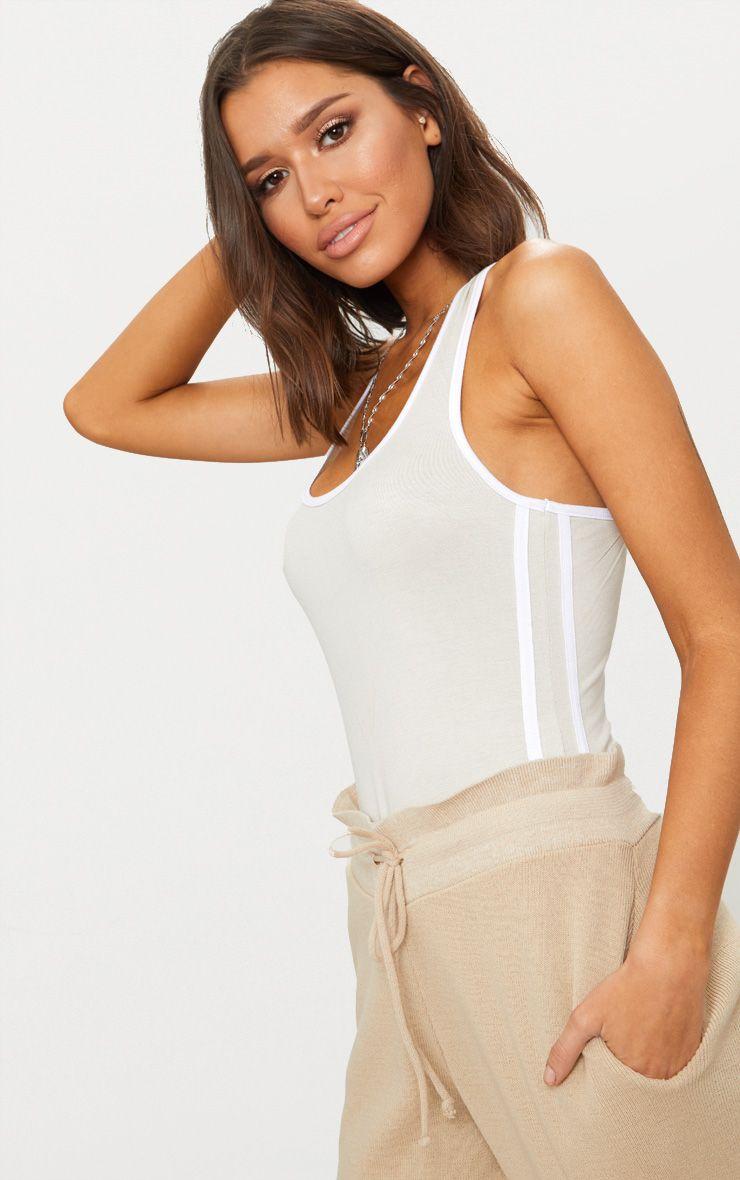 Stone Contrast Sport Stripe Thong Bodysuit