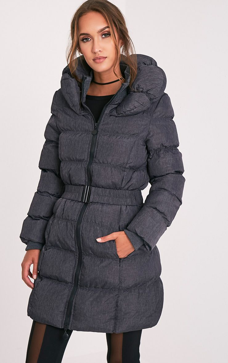 Shawn Grey Belted Puffer Coat 4
