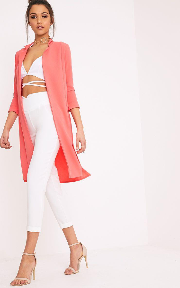 Fayela Pink Split Detail Duster Coat