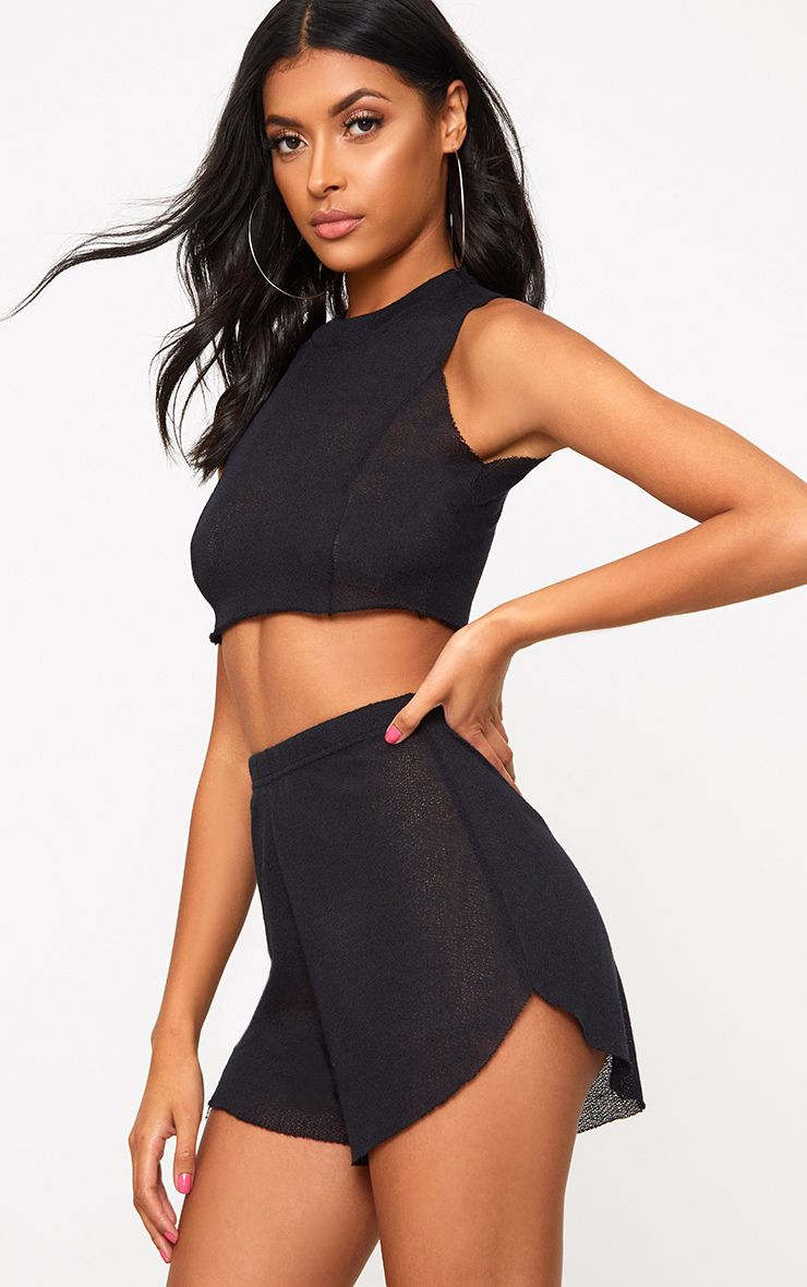 Black Lightweight Knit Shorts