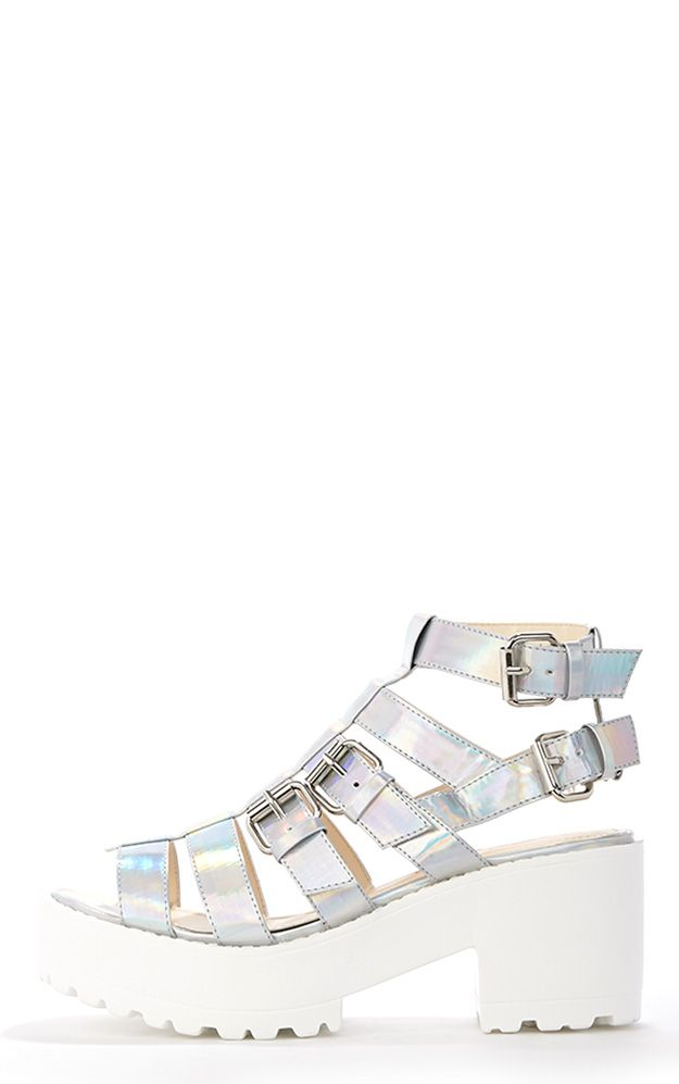 Dionne Holographic Extreme Gladiator Sandal 1
