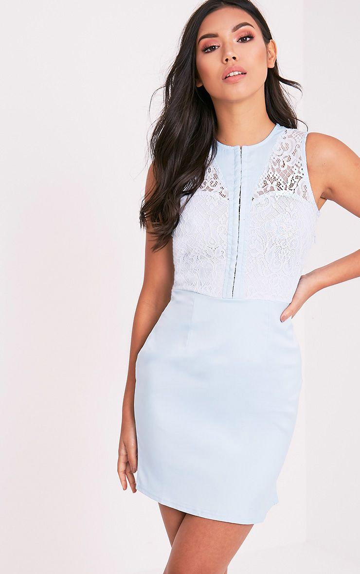 Tayana Sky Blue  Hook and Eye Detail Mini Dress 1