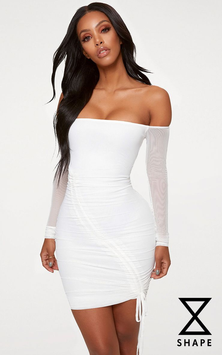 Shape White Ruched Mesh Bodycon Dress