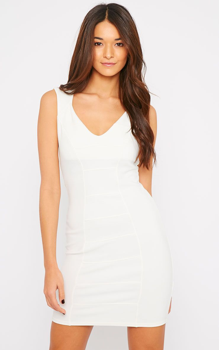 Mya Cream V Neck Bandage Dress  1