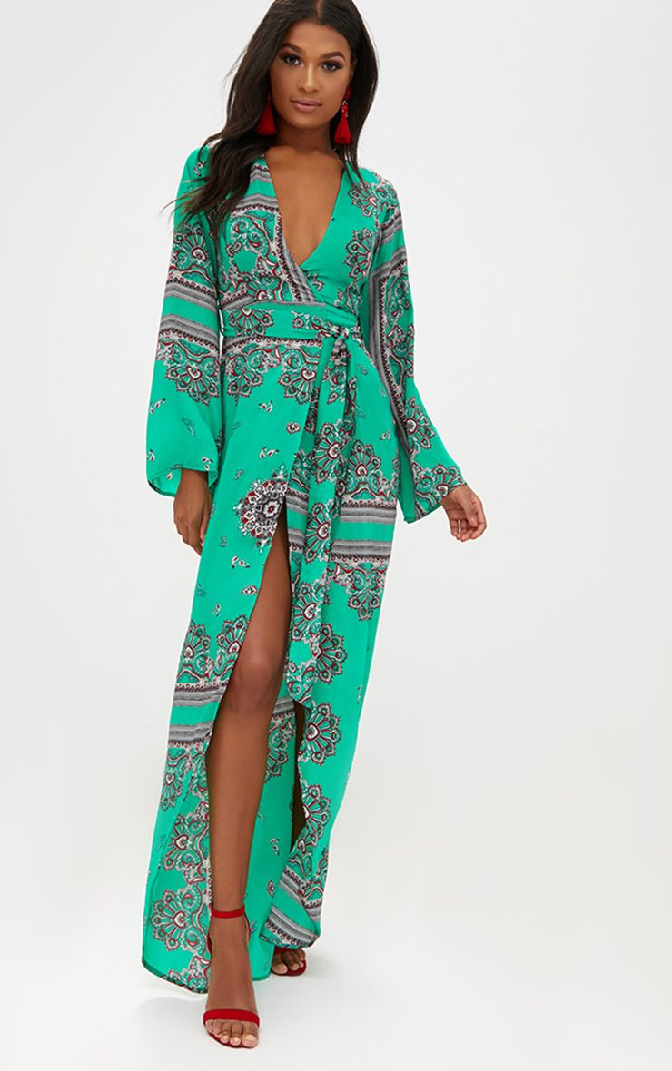 Bright Green Print Satin Kimono Maxi Dress