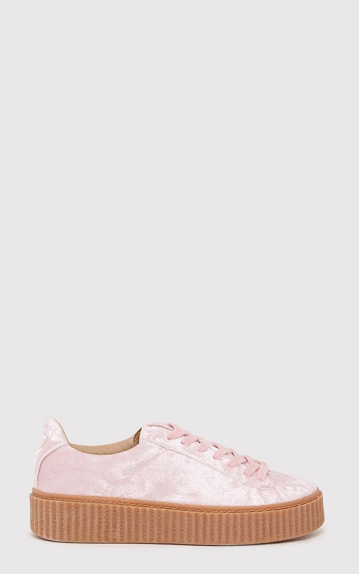 Anahita Blush Crushed Velvet Creeper Trainers