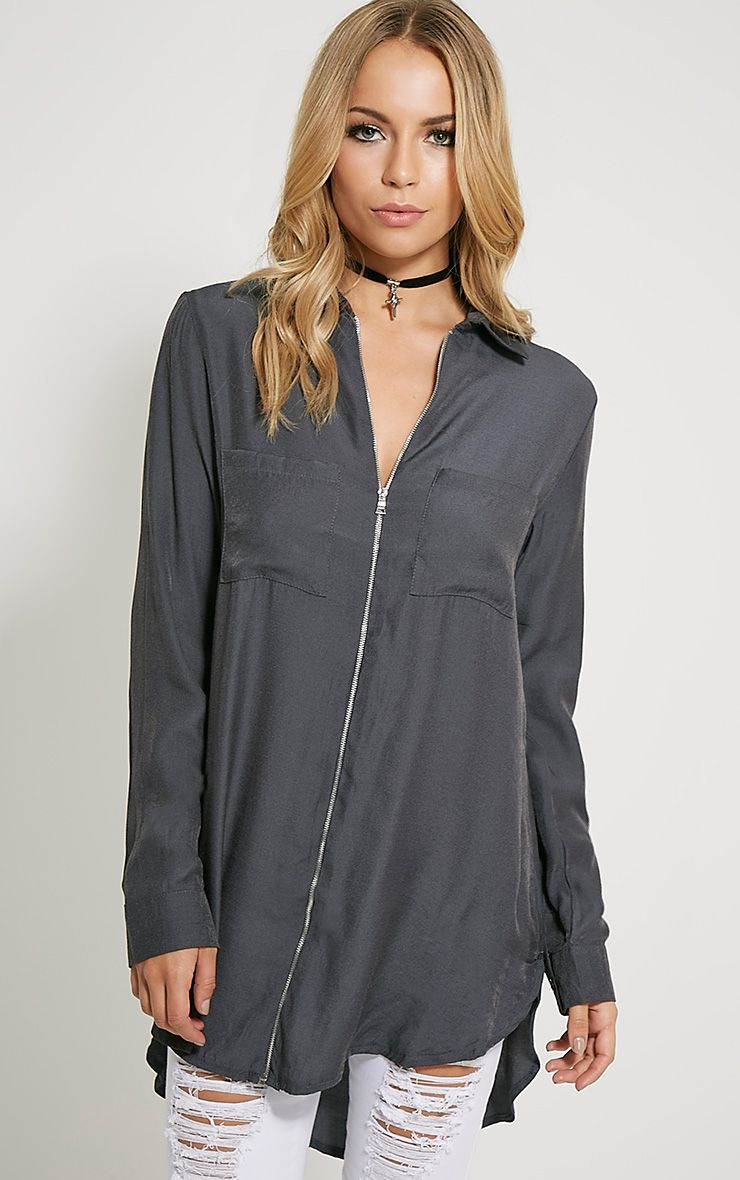 Veena Charcoal Zip Detail Shirt 1