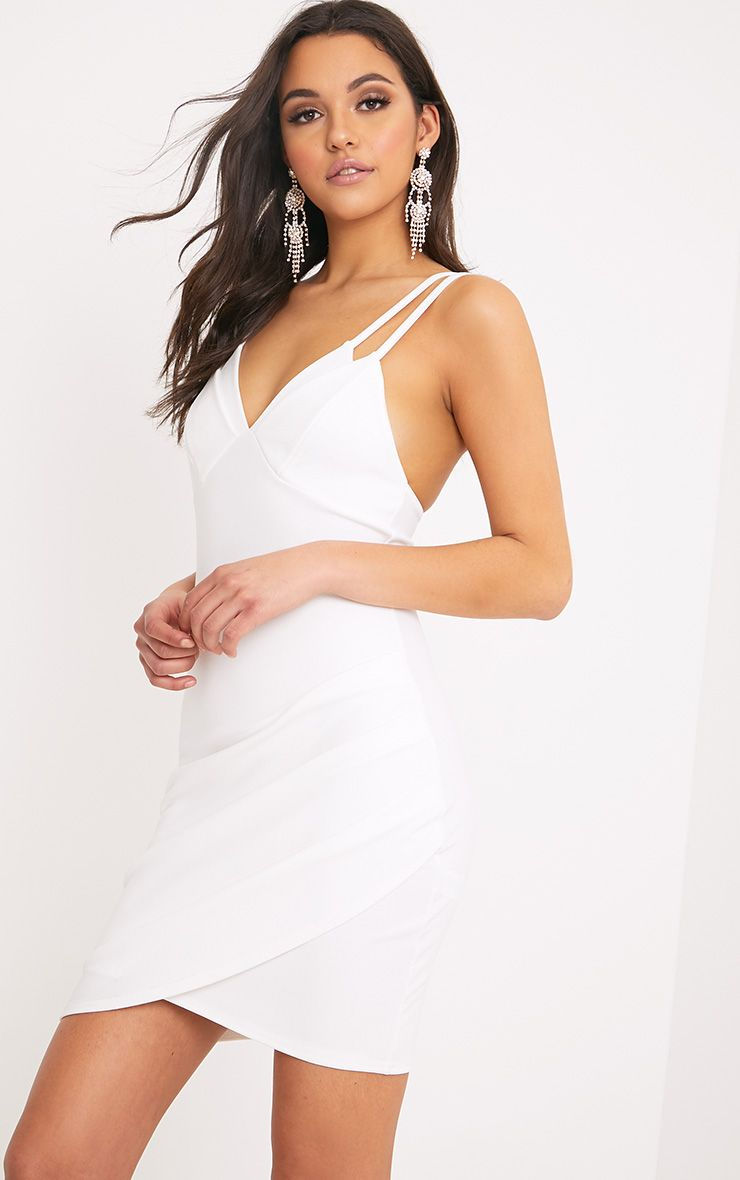 Pascala White Double Strap Bodycon Dress