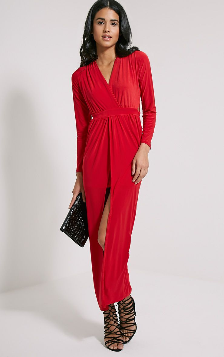 Bex Red Cut Out Maxi Dress 1