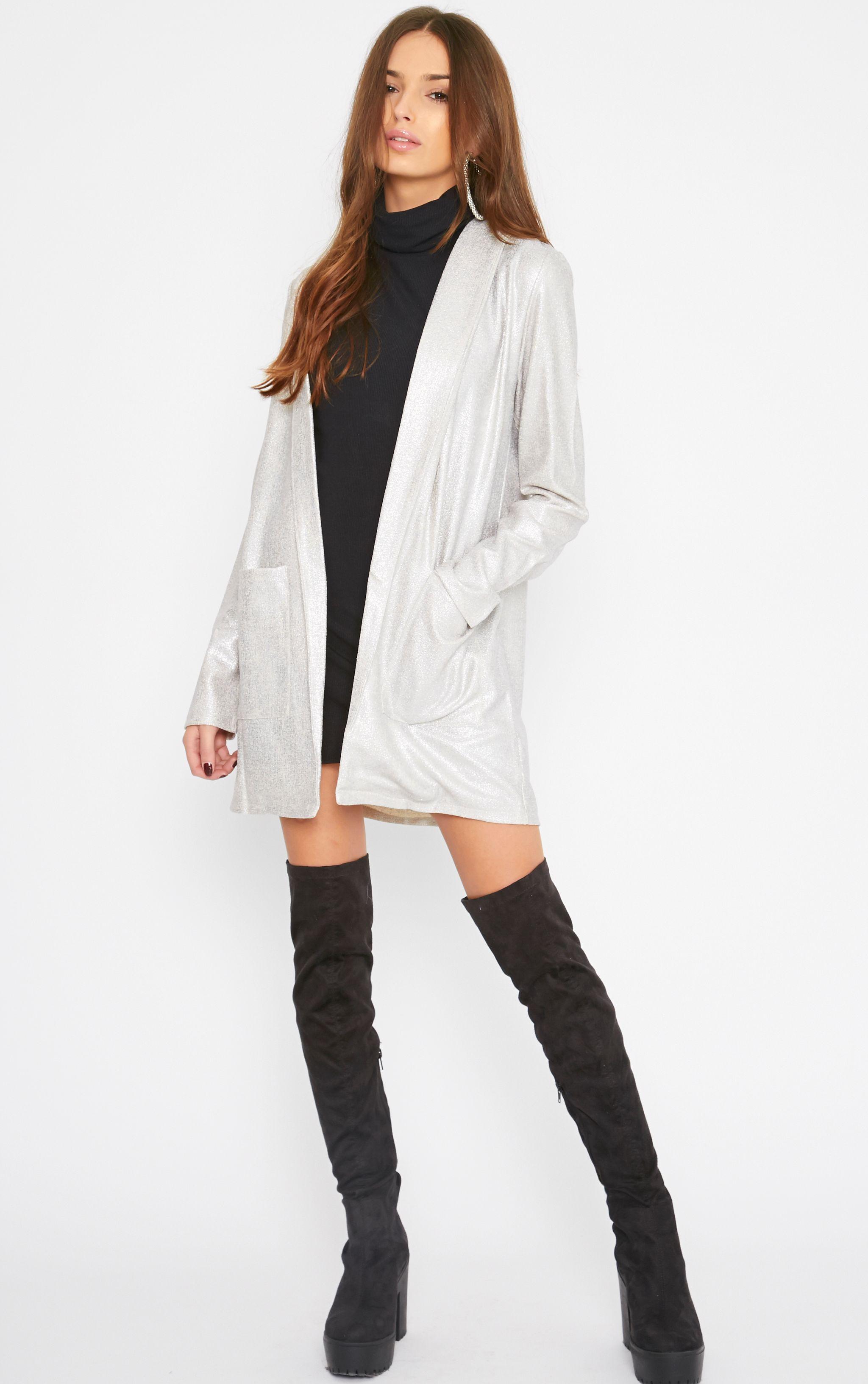Gabby Silver Iridescent Longline Blazer 1