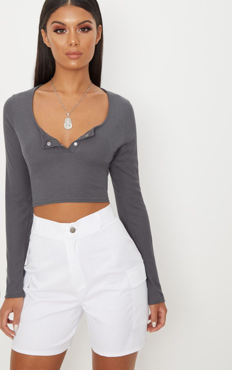 Charcoal Rib Popper Front Long Sleeve Crop Top