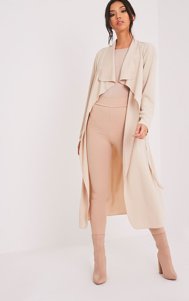 Livia Beige Lightweight Belted Waterfall Jacket