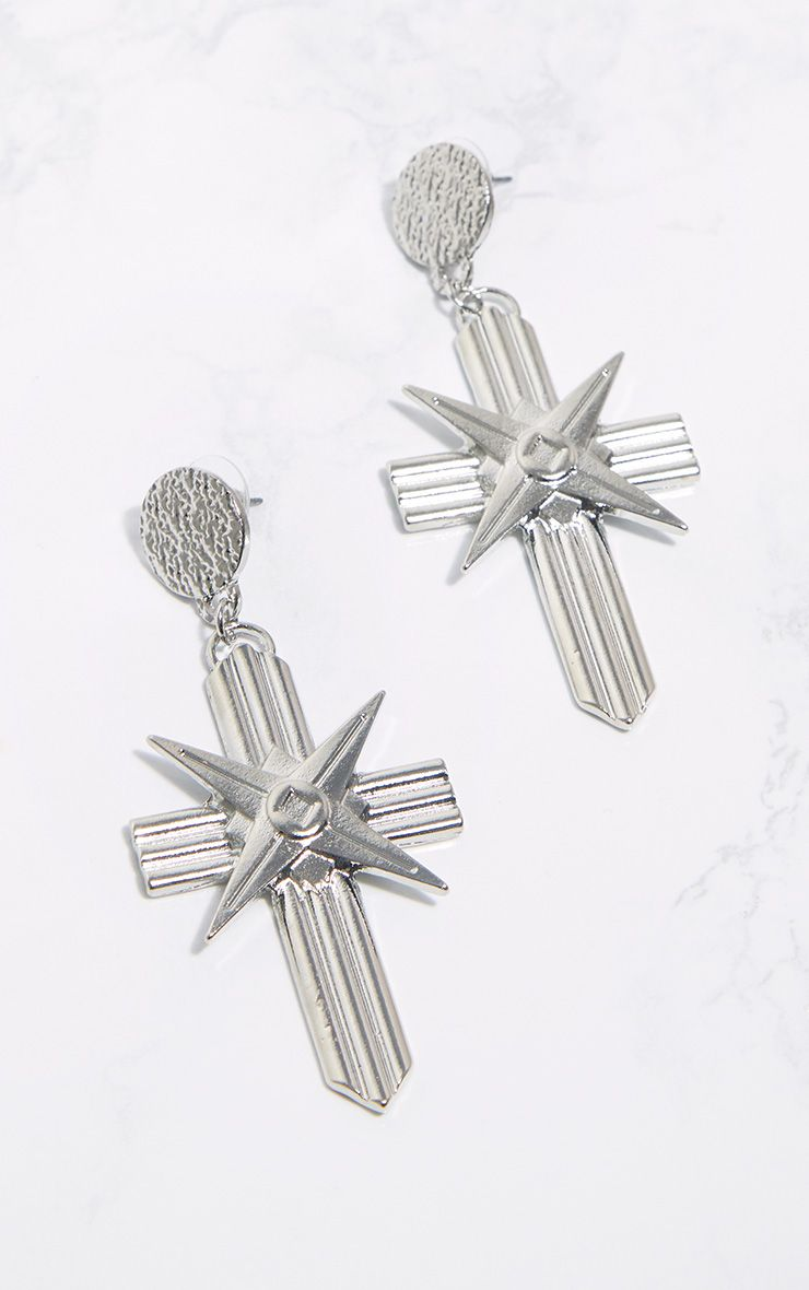 Silver Chunky Lined Cross Earrings