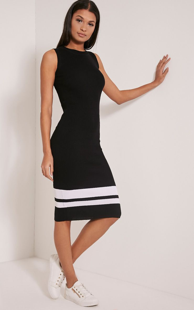 Kammie Black Stripe Ribbed Sleeveless Midi Dress 1