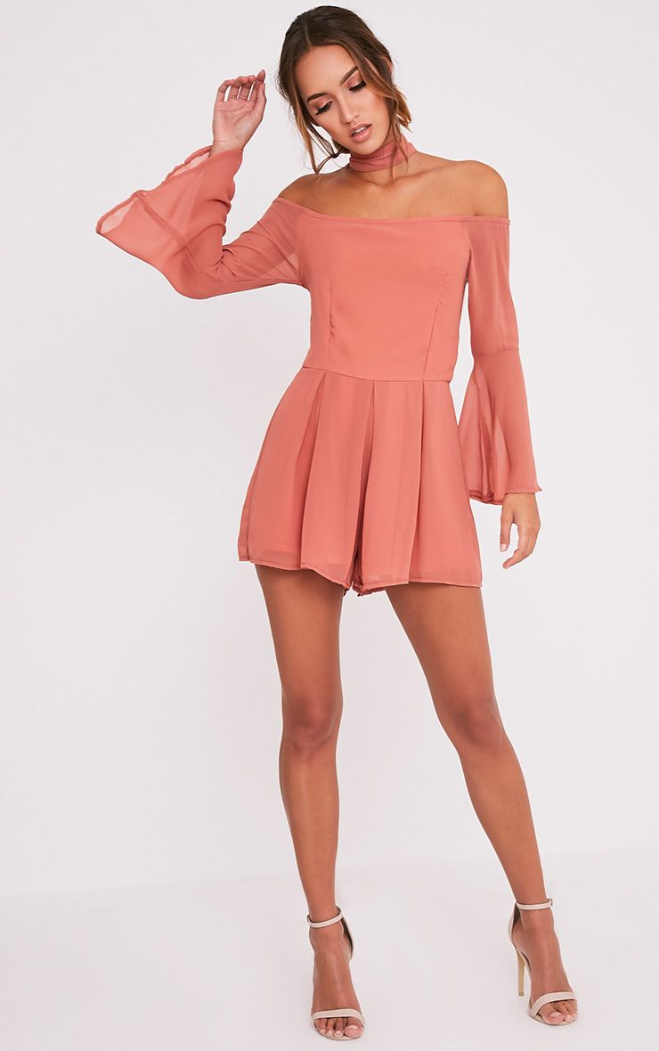 Lottie Deep Peach Choker Neck Playsuit