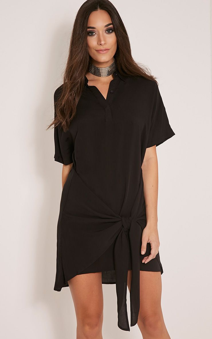 Chessca Black Tie Front Shirt Dress 1