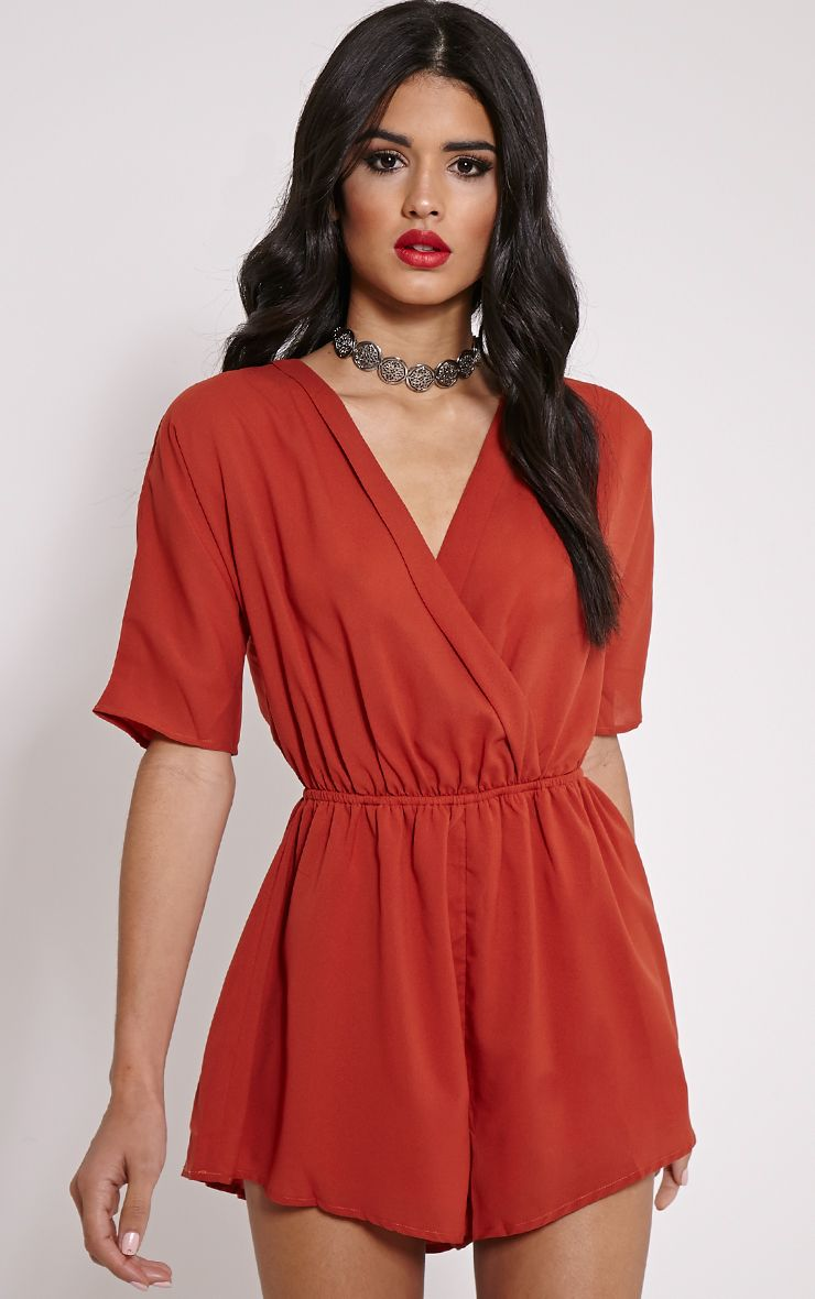 Bobby Orange Wrap Front Playsuit 1