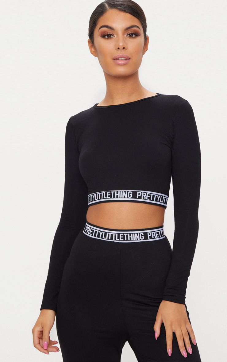 Black PrettyLittleThing Long Sleeve Crop PJ Top