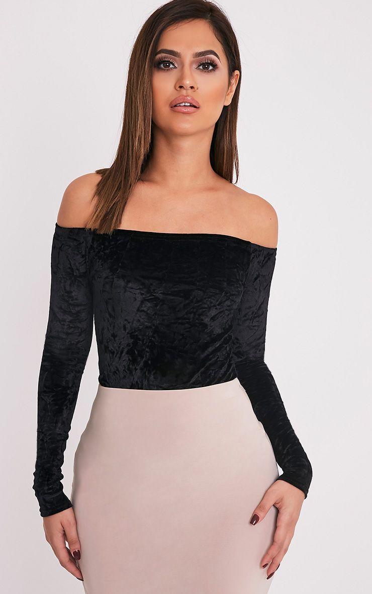 Xara Black Crushed Velvet Longsleeve Bardot Bodysuit 1