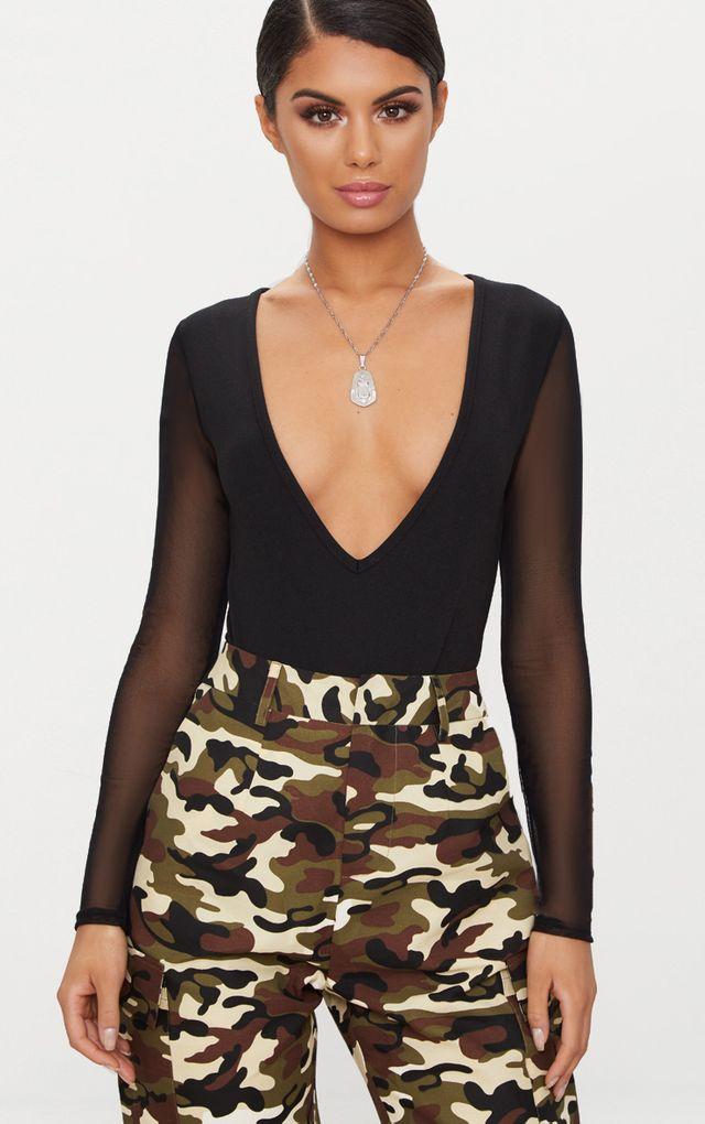 Black Mesh Sleeve Plunge Thong Bodysuit