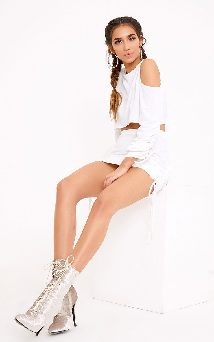 Achala Cream Side Ruched Sweat Mini Skirt