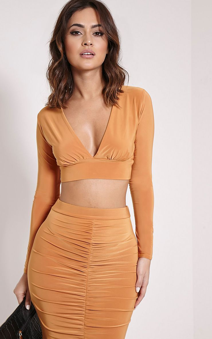 Darcia Mustard V Neck Long Sleeve Crop Top 1