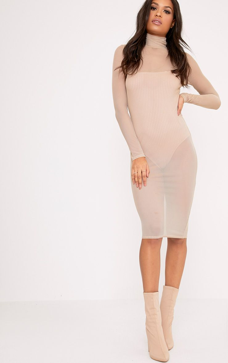 Ayda Nude High Neck Mesh Midi Dress