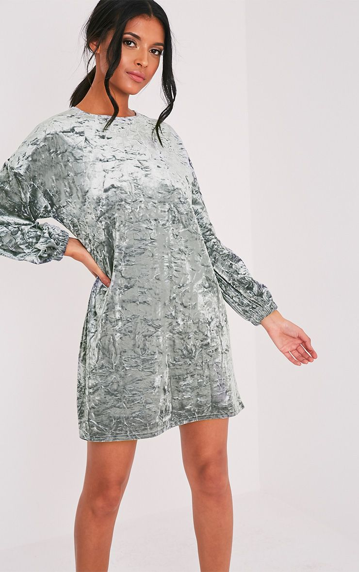 Reni Grey Crushed Velvet Oversized Shift Dress 1