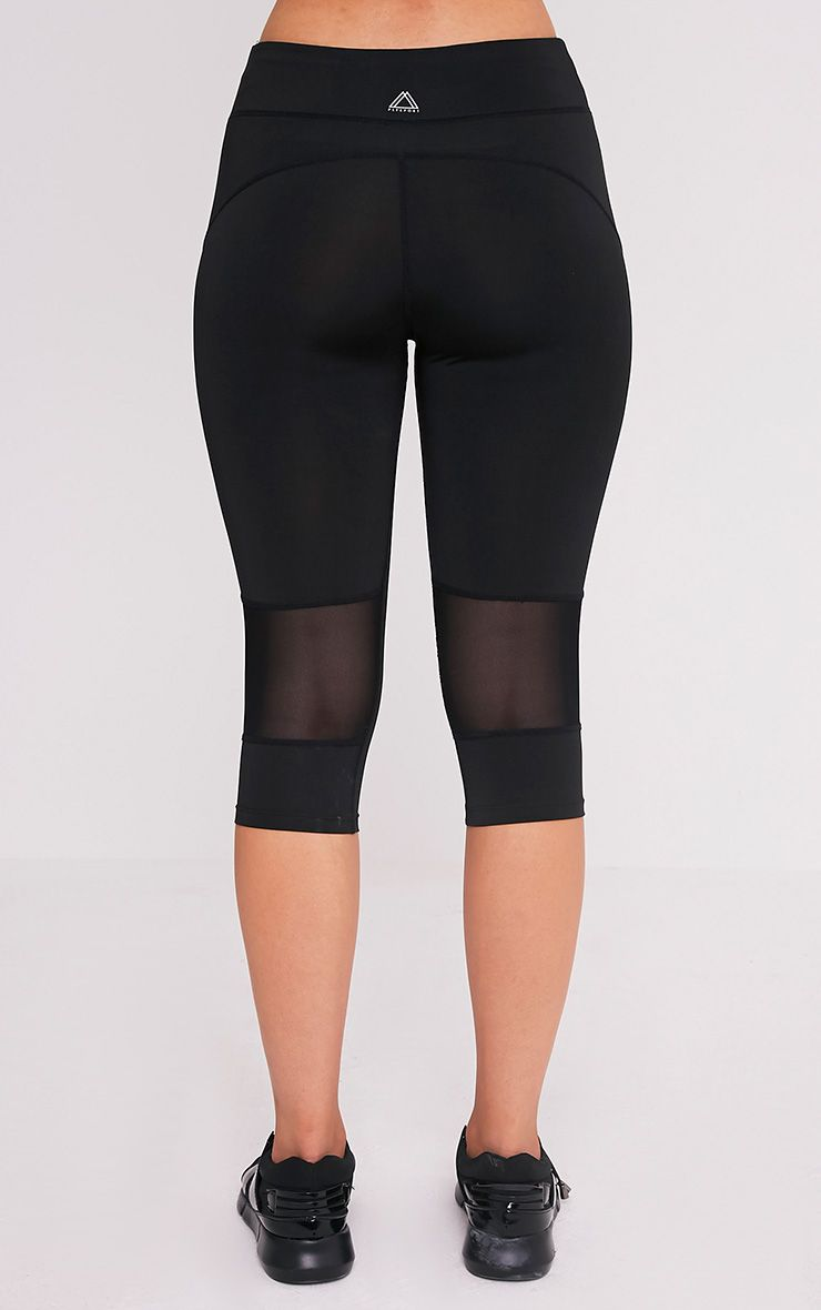 Miah legging de sport court à empiècements en tulle noir 5
