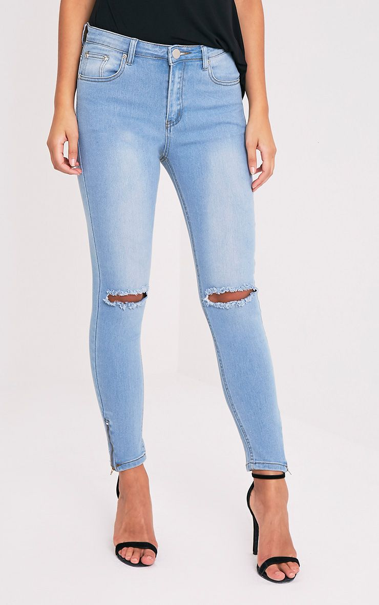 Light Wash Knee Rip High Waisted Skinny Jean