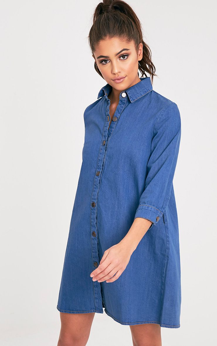 Marriet Mid Wash Button Through Denim Shirt Dress