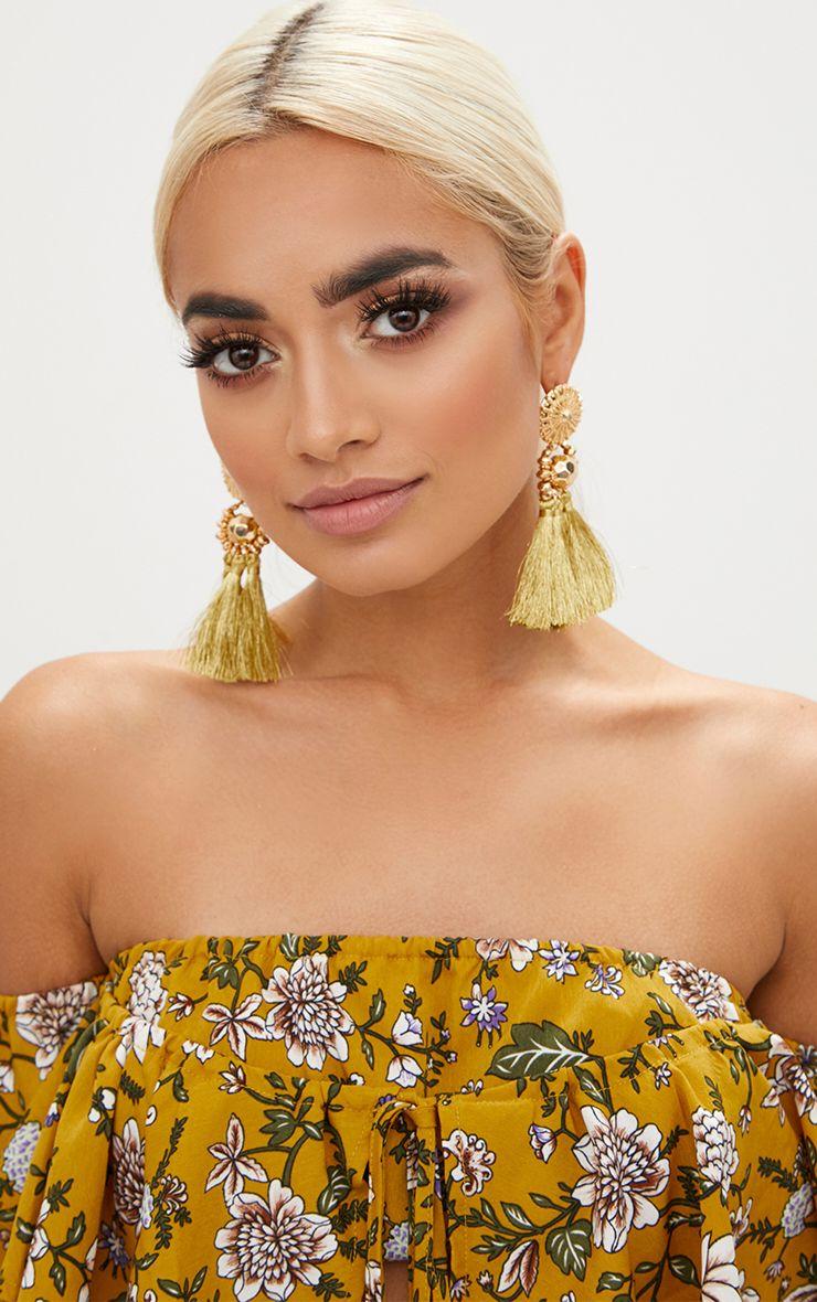 Gold Acrylic Bead Tassel Earring