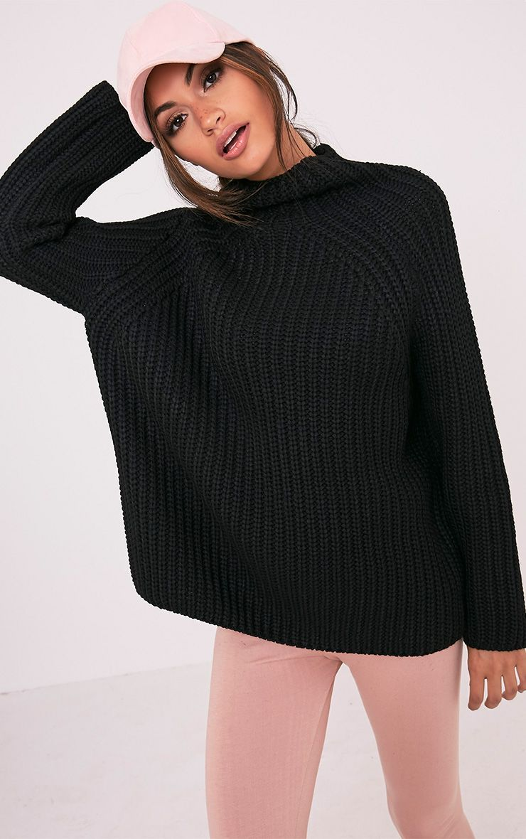Rheana Black Oversized Chunky Knit Jumper 1