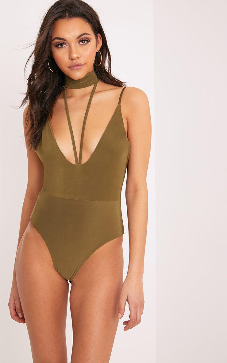 Laula Khaki Slinky Strap Front Thong Bodysuit 1