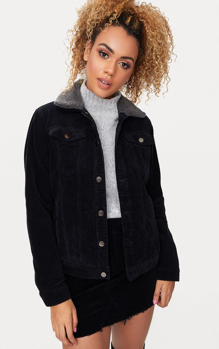Black Faux Fur Collar Cord Jacket