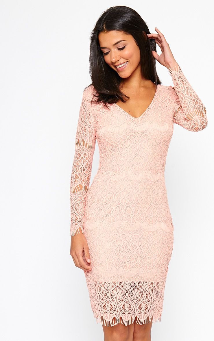 Lenix Coral Lace Midi Dress 1