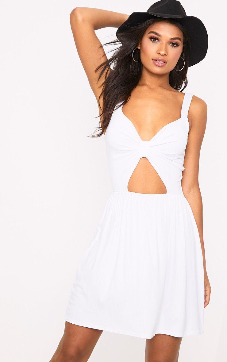 White Jersey Twist Front Swing Dress