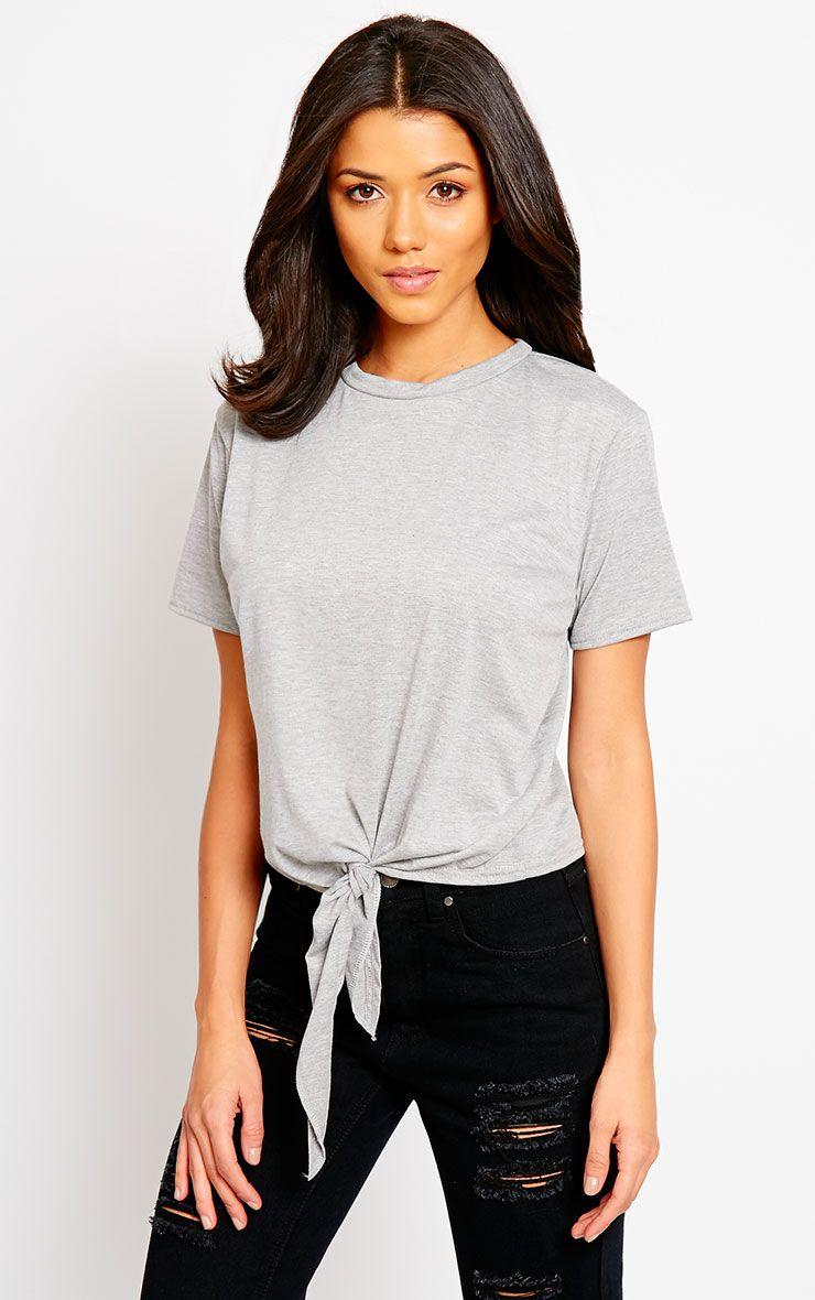 Basic Grey Knot Front T-Shirt 1