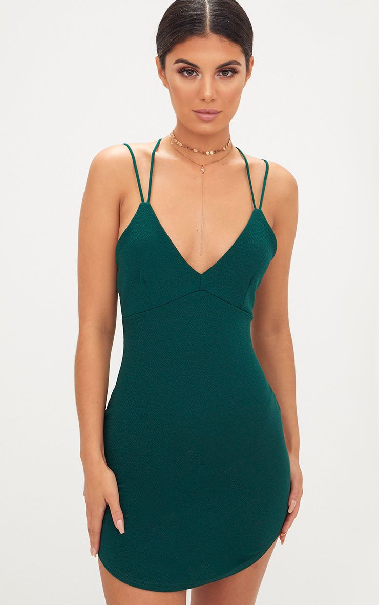 Emerald Double Strap Cross Back Plunge Bodycon Dress