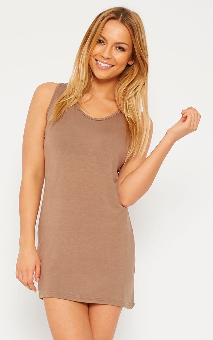 Basic Mocha Jersey Mini Dress 1