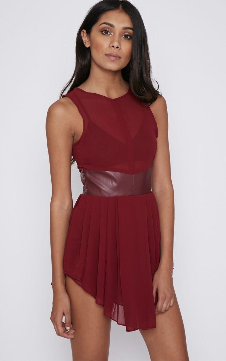 Nia Wine Leather Trim Chiffon Mini Dress 1