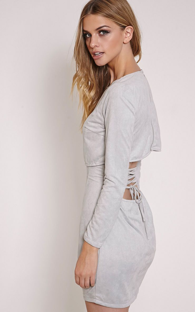 Cayte Grey Faux Suede Strappy Back Bodycon Dress 1