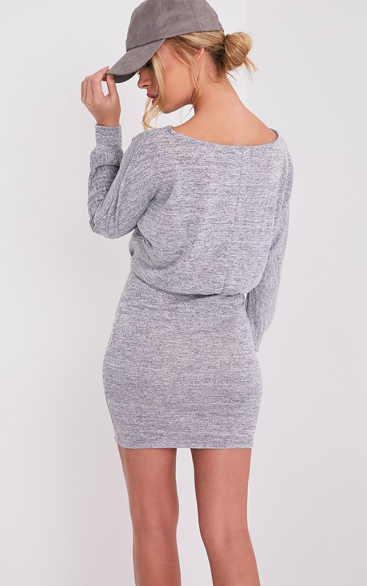 Lerie Grey Waist Fitted Knit Dress 6