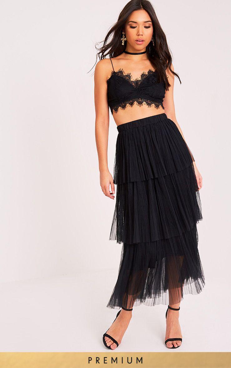 Regina Black Tiered Tulle Maxi Skirt