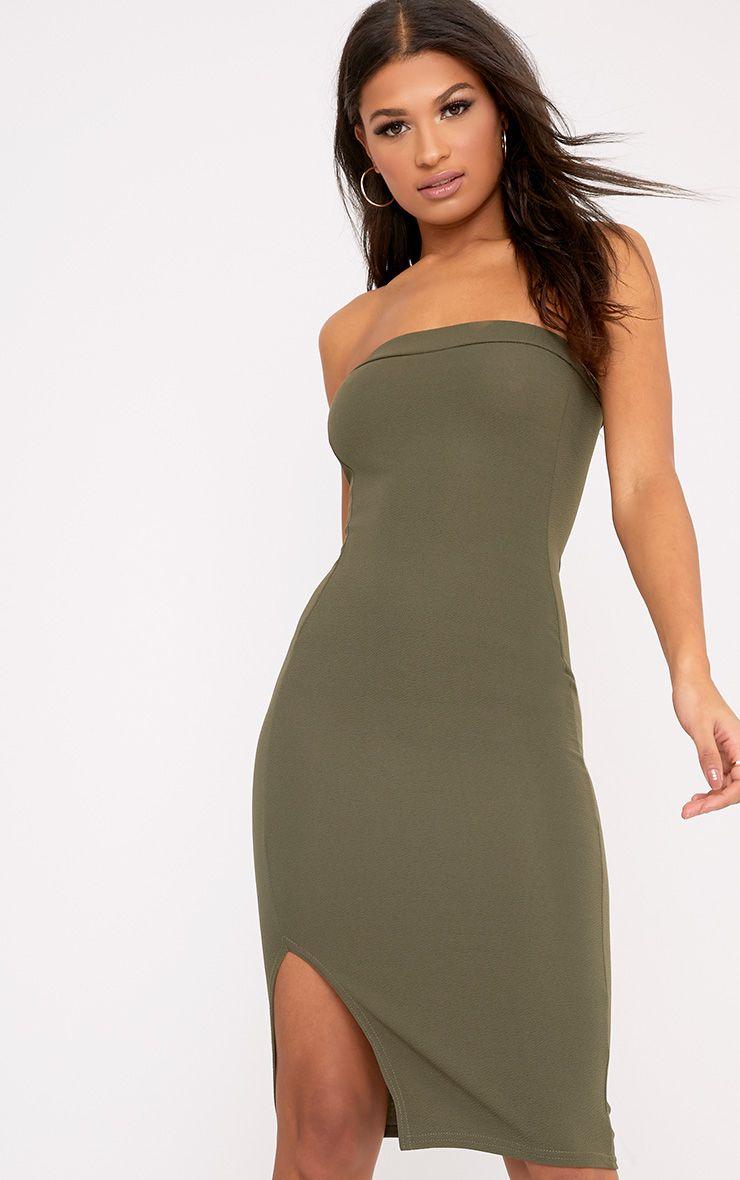 Rosalind Khaki Split Front Bandeau Midi Dress