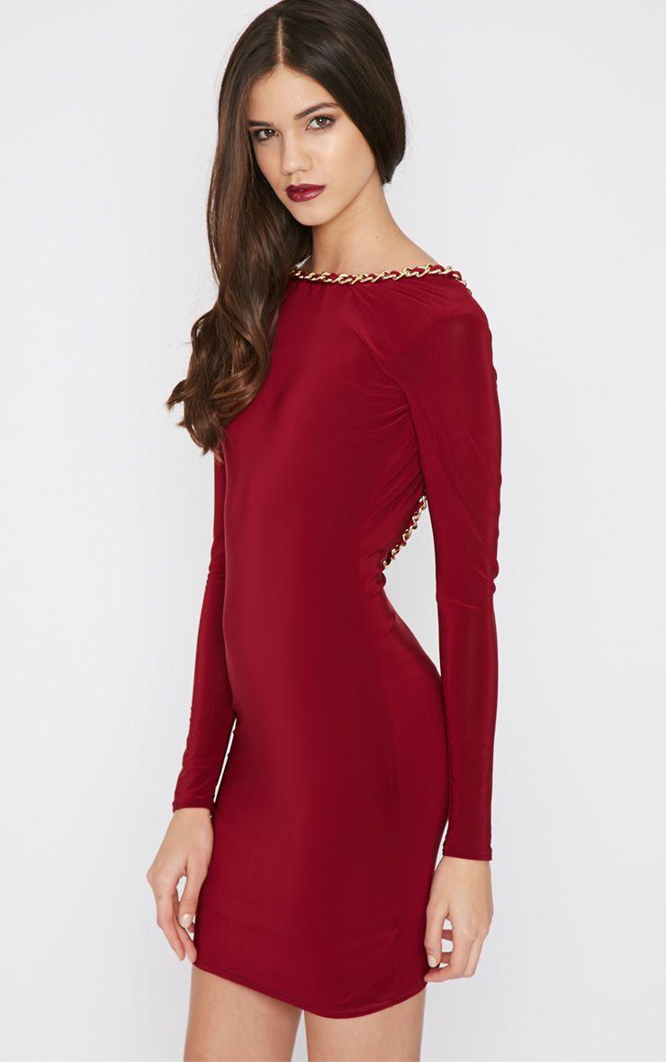 Penelope Wine Chain Back Dress 1
